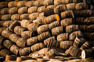 Pile of wooden whisky casksの写真素材 [FYI03520828]