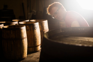 Young man working in cooperage with whisky casksの写真素材 [FYI03520832]