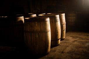 Wooden whisky casksの写真素材 [FYI03520835]