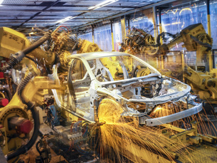 Car body being welded on production line in car factoryの写真素材 [FYI03521697]