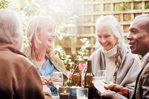 Senior friends playing cards in gardenの写真素材 [FYI03523414]