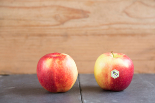 Still life of two apples - one with bio labelの写真素材 [FYI03524027]