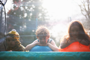Young children looking out from garden trampolineの写真素材 [FYI03524148]