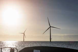 View of offshore windfarm from service boat at seaの写真素材 [FYI03524834]