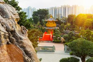 Pagoda and pavilion, Nan Lian Garden, Diamond Hill, Hong Kong, Chinaの写真素材 [FYI03524979]