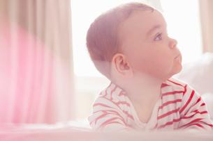Baby boy lying on bedの写真素材 [FYI03525788]