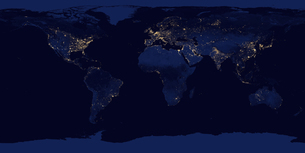 Image of Earth at night. Composite assembled from data acquired by Suomi National Polar-orbiting Parの写真素材 [FYI03525957]