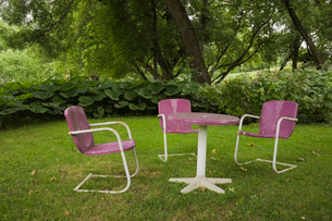 Retro table and chairs in gardenの写真素材 [FYI03527565]