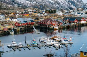 Fishing boats in harbour, Reine, Lofoten, Norwayの写真素材 [FYI03527872]