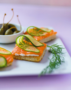 Plate of crackers with sliced salmon, cucumber and dillの写真素材 [FYI03527931]