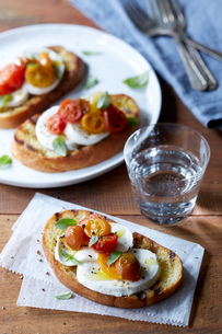 Still life of bruschetta with roasted cherry tomatoes, buffalo mozzarella, fresh oregano and pepperの写真素材 [FYI03530211]