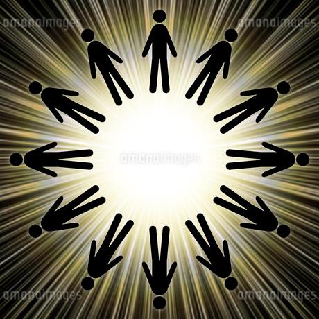 光と人の輪のイラスト素材 [FYI03530514]
