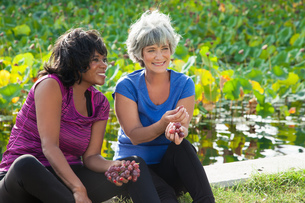 Mature female friends sitting in park, eating grapesの写真素材 [FYI03531949]