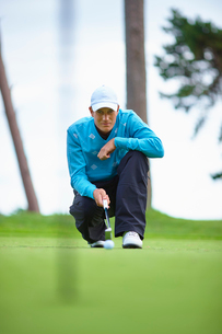 Front view of golfer crouching down considering strategyの写真素材 [FYI03533579]