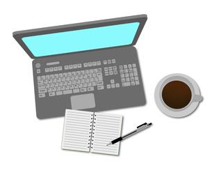 パソコンとコーヒーとメモ帳のイラスト素材 [FYI03533751]
