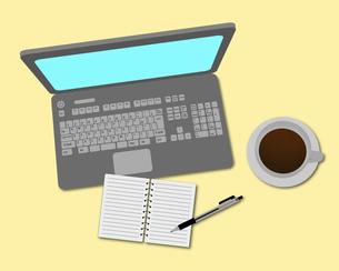 パソコンとコーヒーとメモ帳のイラスト素材 [FYI03534007]