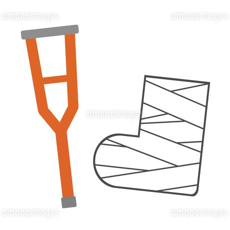 松葉杖と足の包帯のイラスト素材 [FYI03534772]