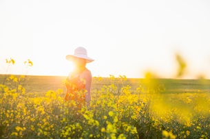 Mid adult woman in canola field wearing sunhat smiling, focus on background, lens flareの写真素材 [FYI03534906]