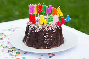 Birthday cake with candles on garden tableの写真素材 [FYI03535841]