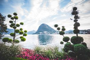 Formal garden and flower beds,  Lake Lugano, Switzerlandの写真素材 [FYI03535908]