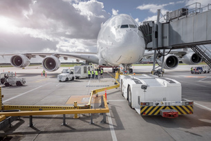 Ground crew operating loading equipment on A380 aircraftの写真素材 [FYI03536428]