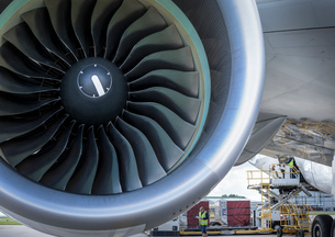 Close up of jet turbine on A380 aircraftの写真素材 [FYI03536438]