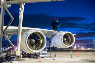 Detail view of A380 aircraft engine at nightの写真素材 [FYI03536680]