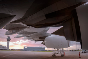 Detail of A380 aircraft at airport at sunsetの写真素材 [FYI03536699]