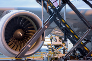Detail of jet engine of A380 aircraft at airportの写真素材 [FYI03536702]