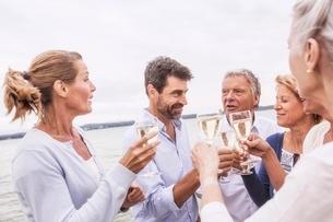 Group of friends raising wine glasses, making toastの写真素材 [FYI03537306]