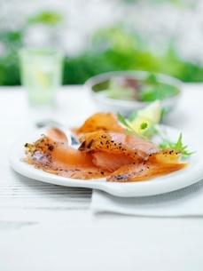 Deli salmon, with sliced lemon and green salad leavesの写真素材 [FYI03537369]