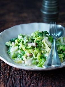 Creamed green vegetables in cheesy bacon sauceの写真素材 [FYI03537370]