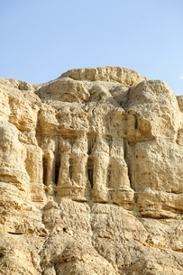 Low angle view of eroded marl stone cliff side, Dead Sea, Israelの写真素材 [FYI03537521]