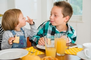 Cute female toddler licking fingers at kitchen tableの写真素材 [FYI03537595]
