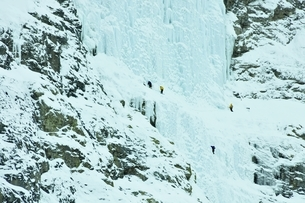 Ice climbers preparing to scale the weeping wall, frozen waterfall, Canmore, Canadaの写真素材 [FYI03537935]