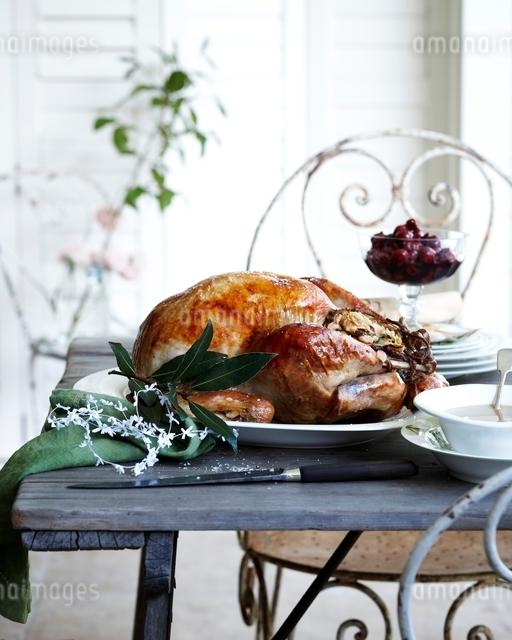 Roast chestnut turkey on patio christmas tableの写真素材 [FYI03538970]