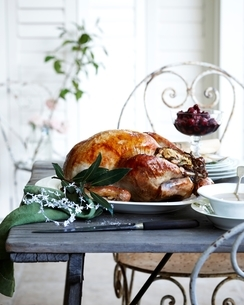 Roast chestnut turkey on patio christmas tableの写真素材 [FYI03538970]