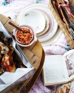 Overhead view of picnic with chicken legs with citrus chilli saltの写真素材 [FYI03539006]