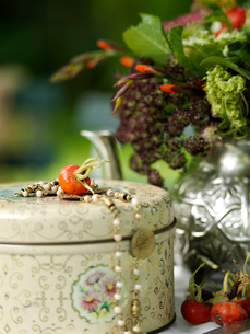 Still life of rosehip and necklace on tin and teapot flower arrangement in gardenの写真素材 [FYI03540386]