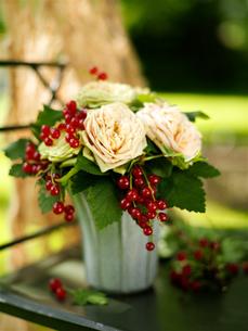 Flower arrangement of roses and  redcurrants on garden tableの写真素材 [FYI03540425]