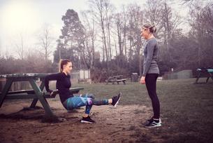 Women doing reverse push up on picnic benchの写真素材 [FYI03543549]