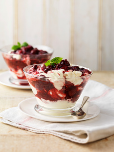 Summer fruit compote dessert in glass dishの写真素材 [FYI03545395]