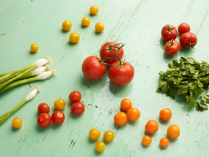 Overhead view of vegetables on green backgroundの写真素材 [FYI03546338]