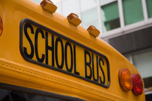 Close up detail of yellow school bus, New York, USAの写真素材 [FYI03546342]