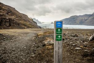 Information sign, Skaftafell National Park, Icelandの写真素材 [FYI03548216]