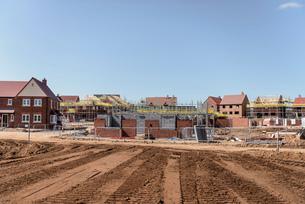 View of housing development on building siteの写真素材 [FYI03548733]
