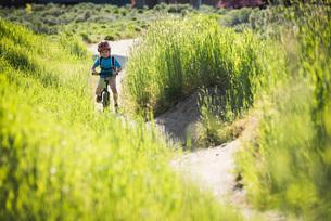 Boy cycling in park, Sandy, Utah, USAの写真素材 [FYI03552658]
