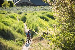 Boy cycling in park, Sandy, Utah, USAの写真素材 [FYI03552659]