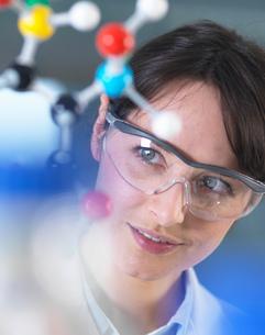 Scientist analysing molecular model in laboratoryの写真素材 [FYI03552704]