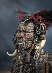 Man of the Mursi Tribe, Omo Valley, Ethiopiaの写真素材 [FYI03552984]